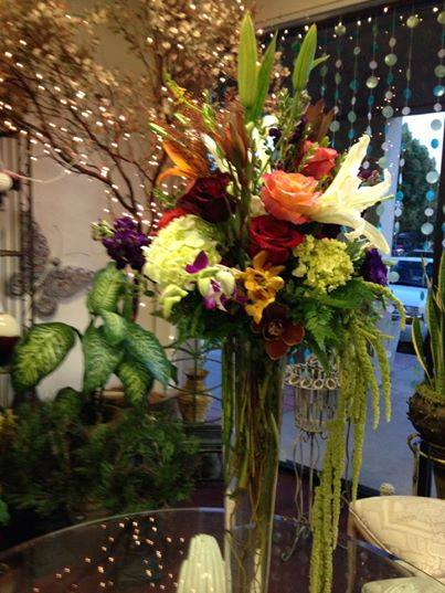 Fall event centerpiece from Robyn at Flowers and More in Fresno, CA