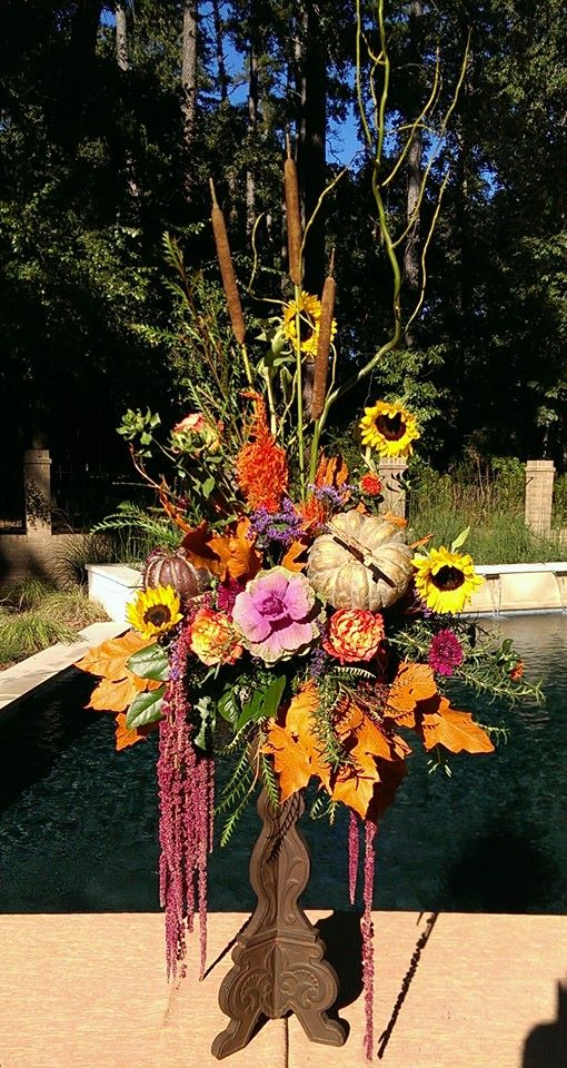 Magnificent fall arrangement from Forget-Me-Not Flowers and Gifts in Chandler, TX