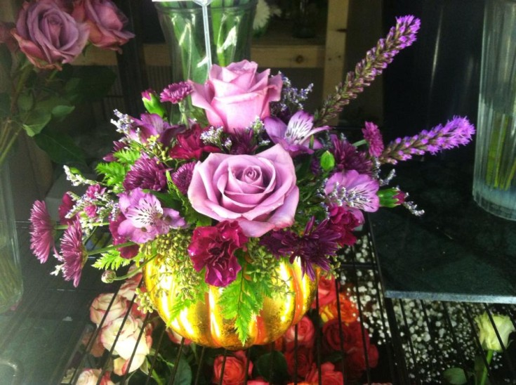 Pumpkin vase and beautiful arrangement from Works of Heart Flowers in Wilton, NH