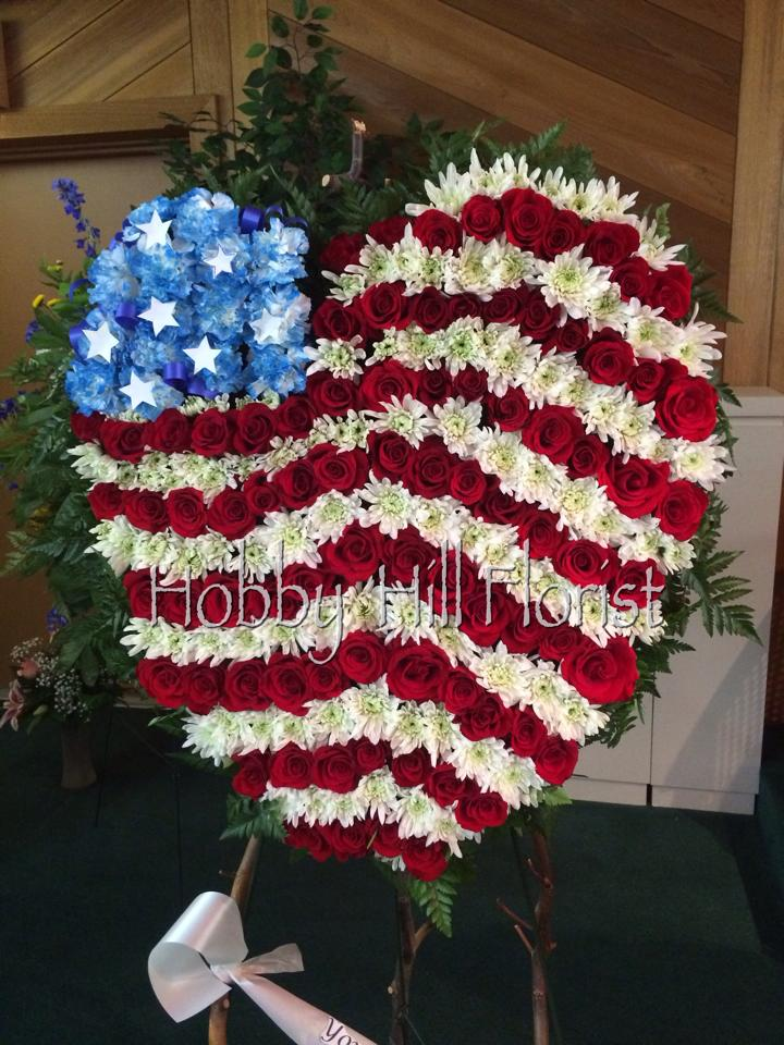 Sympathy tribute for a military husband and father from Hobby Hill Florist in Sebring, FL
