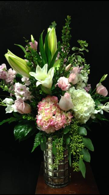 Tall, pink and white floral arrangement from Robyn at Flowers and More in San Diego, CA