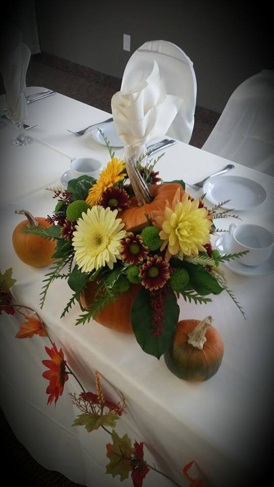 Thematic Thanksgiving centerpiece from BlueShores Flowers & Gifts in Wasaga Beach, ON