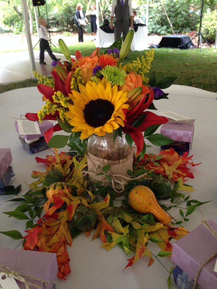 Wedding table decoration from River Birch Florist in Locust Hill, VA