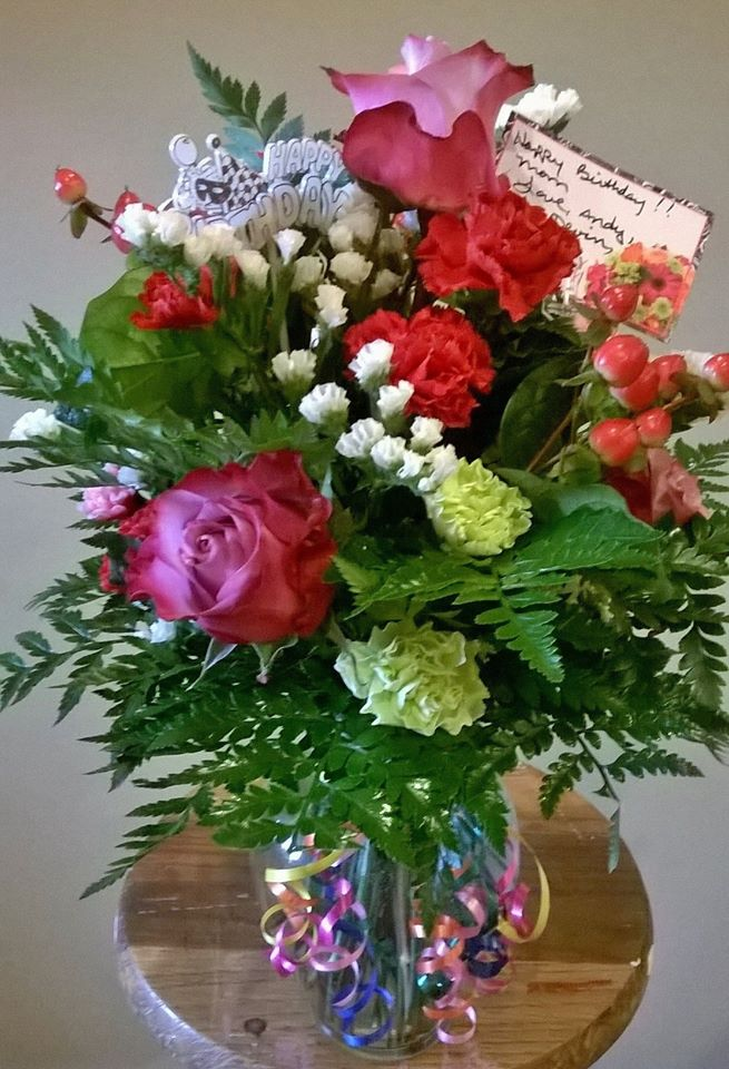 A birthday arrangement from Wilma's Flowers in Jasper, AL