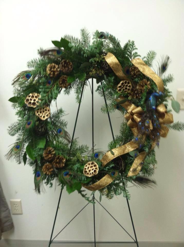 A peacock wreath from Works of Heart Flowers in Wilton, NH
