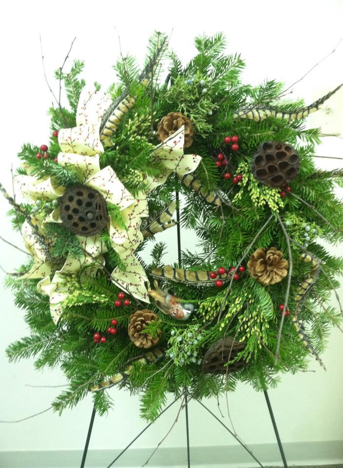 A woodland wreath from Works of Heart in Wilton, NH