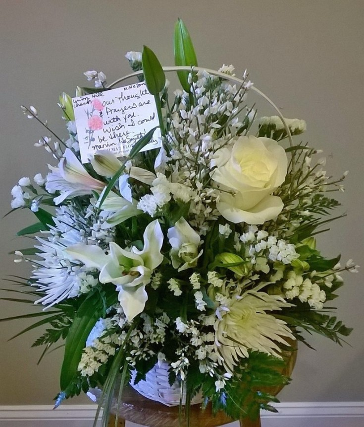 Amazing sympathy arrangement from Wilma's Flowers in Jasper, AL