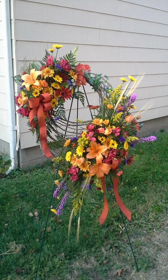 Beautiful standing spray from Garden Gate Gift and Flower Shop in North Salem, IN