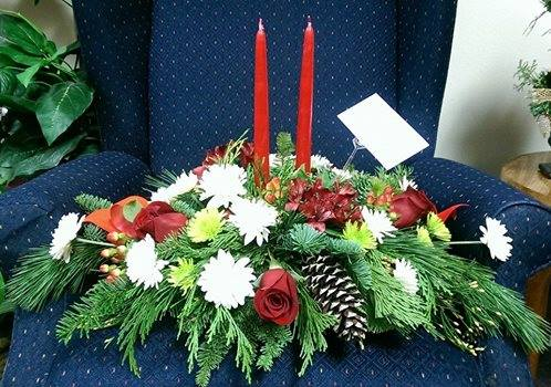 Christmas centerpiece from Front Porch Creations Florist in Crawfordville, FL