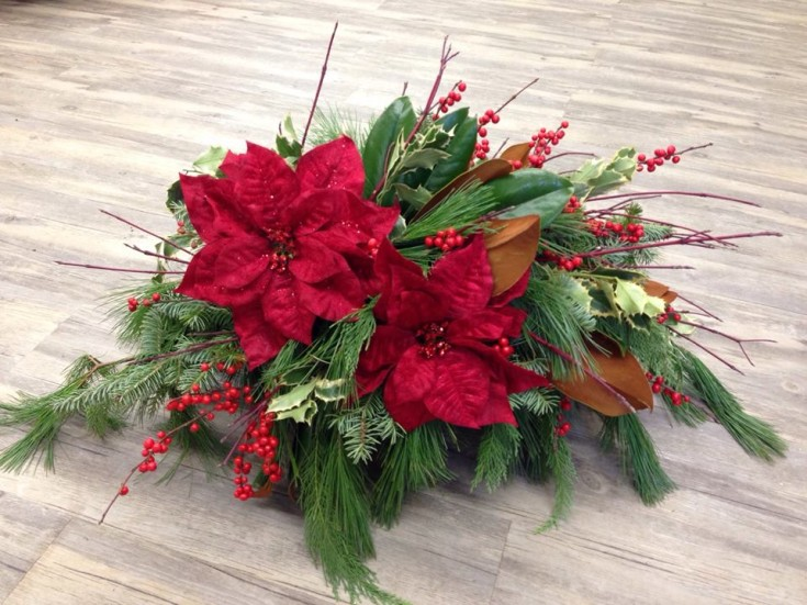 Festive florals for a headstone by Petals in Thyme of Wasaga Beach, ON