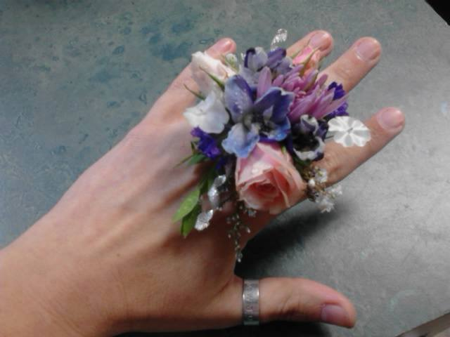 Finger corsage from Front Porch Creations Florist in Crawfordville, FL