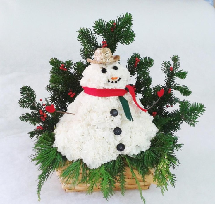 Frosty the flower man at Marshfield Blooms in Marshfield, MO