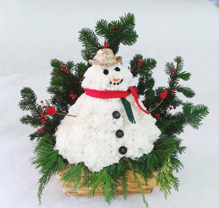 Frosty the flower man at Marshfield Blooms in Marshfield, MO