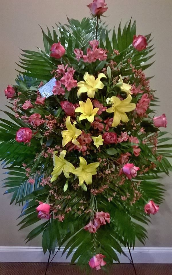 Lovely standing spray from Wilma's Flowers in Jasper, AL