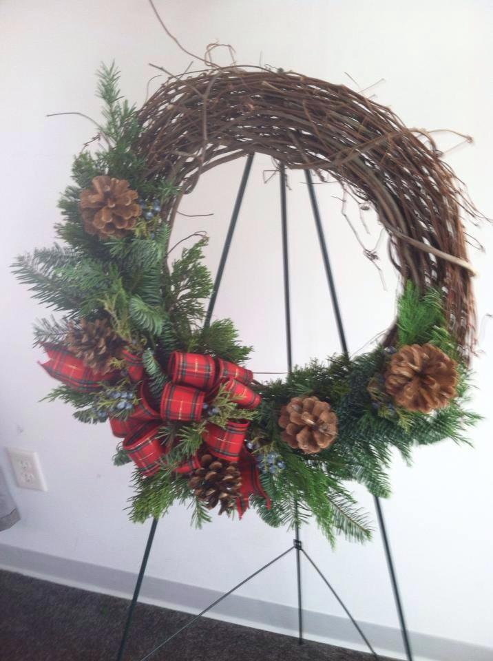 A grapevine wreath from Works of Heart Flowers in Wilton, NH