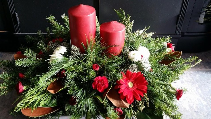 Red and green with BlueShores Flowers & Gifts in Wasaga Beach, ON