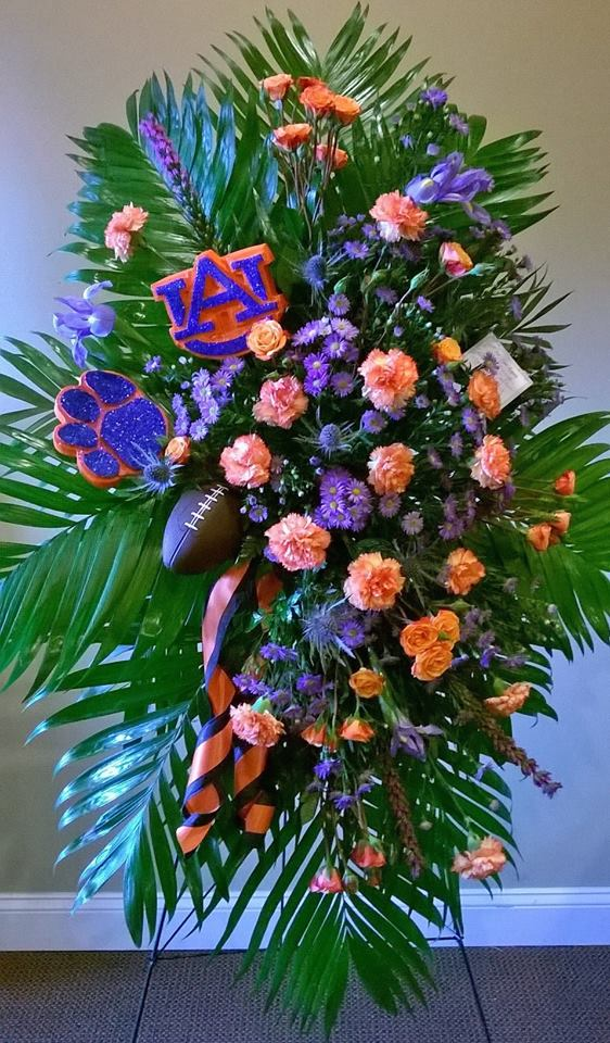 Standing spray with a football theme from Wilma's Flowers in Jasper, AL