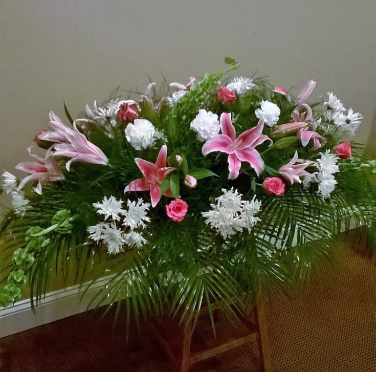 Sympathy spray from Wilma's Flowers in Jasper, AL