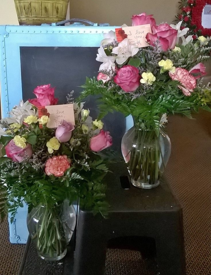 Twin arrangements from Wilma's Flowers in Jasper, AL
