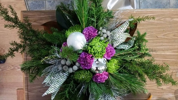 Winter arrangement from BlueShores Flowers & Gifts in Wasaga Beach, ON