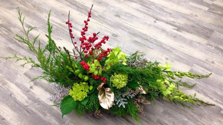 Winter arrangement from Petals in Thyme of Wasaga Beach, ON