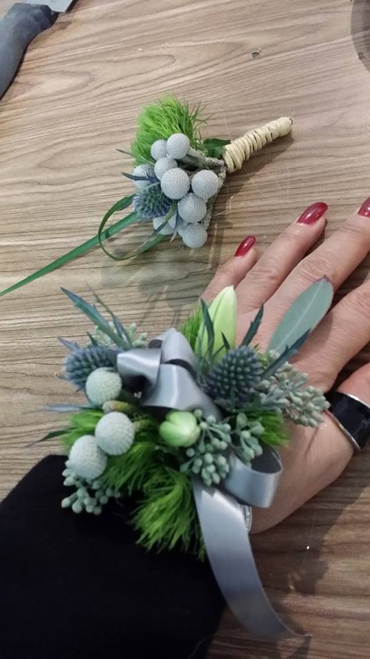 Wintery corsage and boutonniere from BlueShores Flowers and Gifts in Wasaga Beach, ON