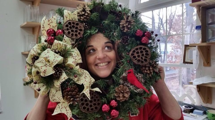 Wreath and a smile from Works of Heart Flowers in Wilton, NH