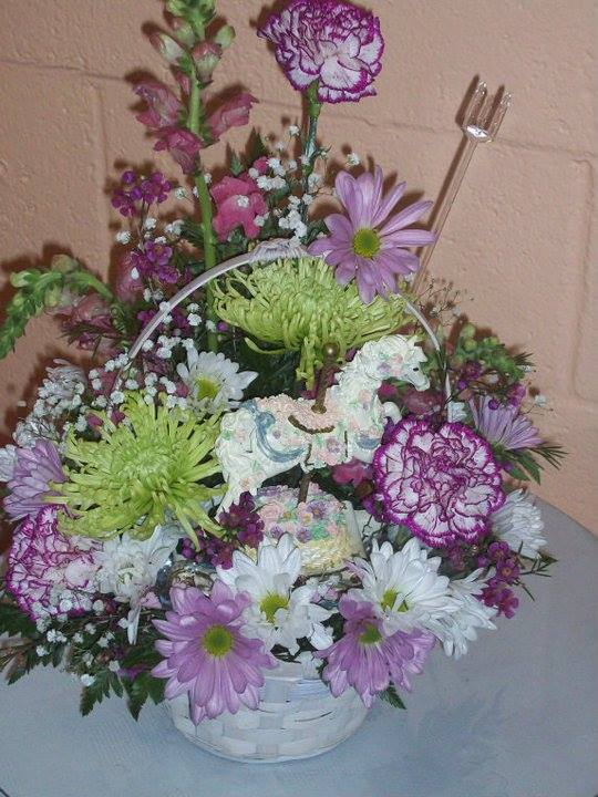 Baby basket arrangement by Front Porch Creations Florist in Crawfordville, FL