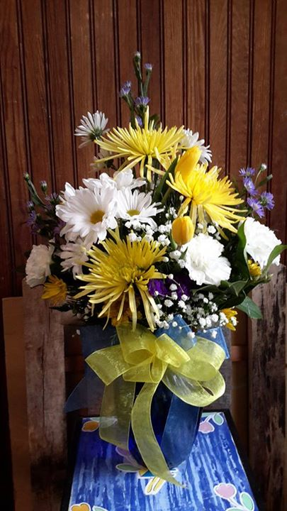 Cheerful arrangment by Garden Gate Flower Shop in North Salem