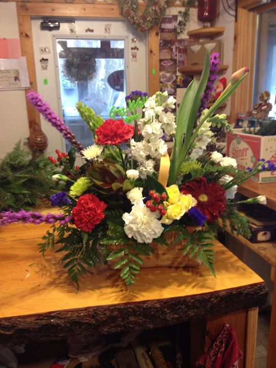 Colorful arrangement by Sweet Briar Flower Shop in Galaway, NY