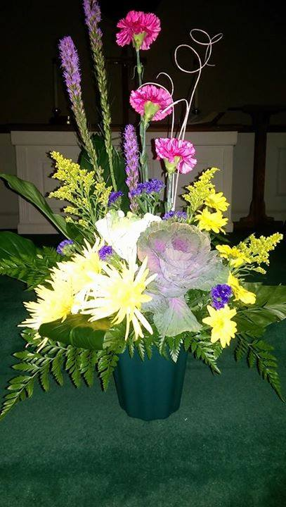 Colorful church arrangement from Front Porch Creations Florist in Crawfordville, FL