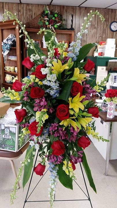 Exquisite standing spray by Swannanoa Flower Shop in Swannanoa, NC