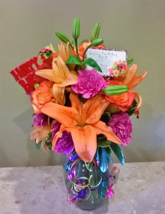 Festive birthday arrangment by Wilma's Flowers in Jasper, AL