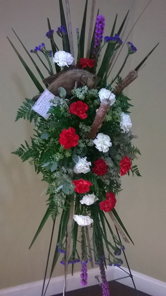 Fishing themed standing spray from Wilma's Flowers in Jasper, AL