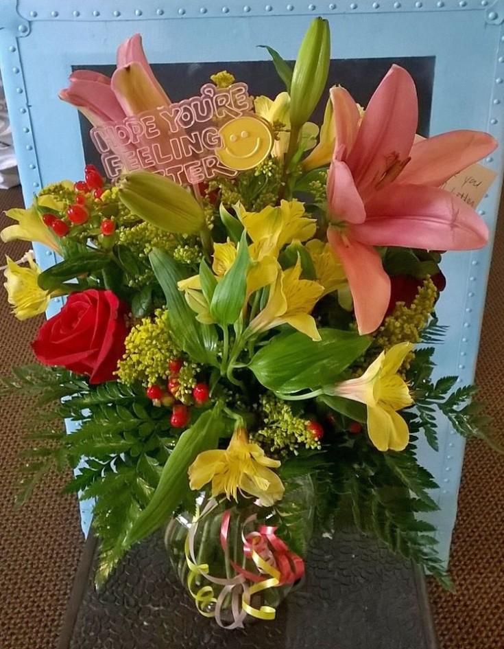 Lovely get well flowers from Wilma's Flowers in Jasper, AL