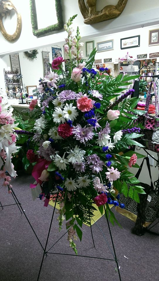Lovely standing spray from Front Porch Creations Florist in Crawfordville, FL