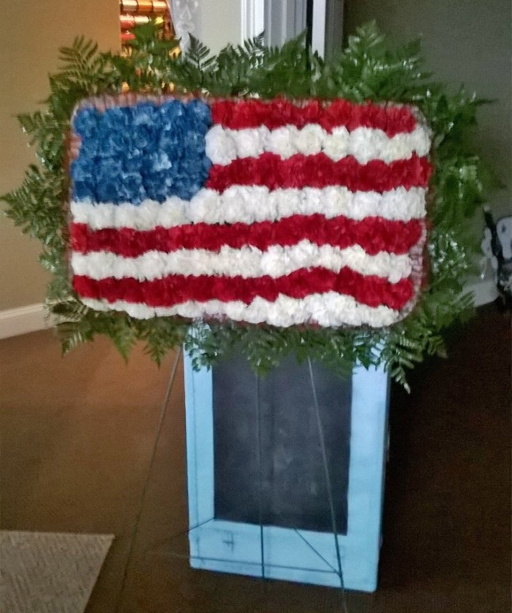 Patriotic standing spray from Wilma's Flowers in Jasper, AL
