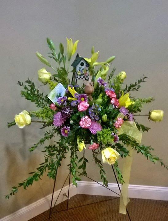 Pretty standing spray from Wilma's Flowers in Jasper, AL