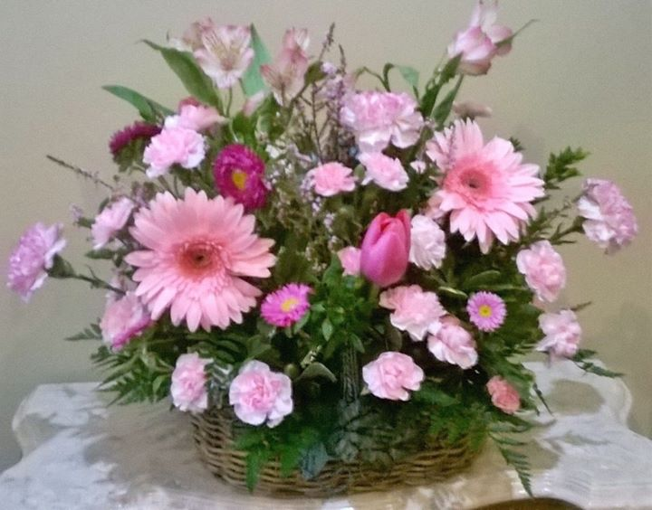 Romantic floral basket by Wilma's Flowers in Jasper, AL