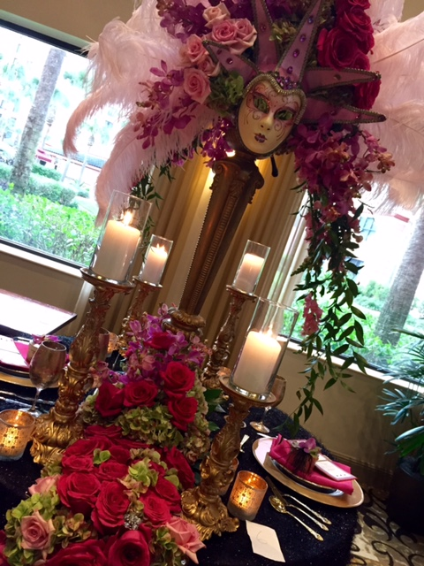 pink mask centerpiece