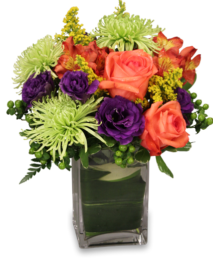 Spring floral arrangements you need the orange circus roses limegreen fuji mums orange carnations and daffodils shine with splendor put this spring arrangement in a mightylinksfo