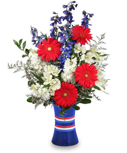 Fireworks flowers and fun for Red white blue flower arrangements
