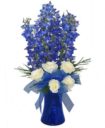 Brilliant blue bouquet of flowers vase arrangements flower shop brilliant blue bouquet of flowers vase arrangements flower shop network mightylinksfo
