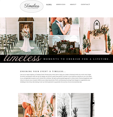 Image of the timeless event productions website